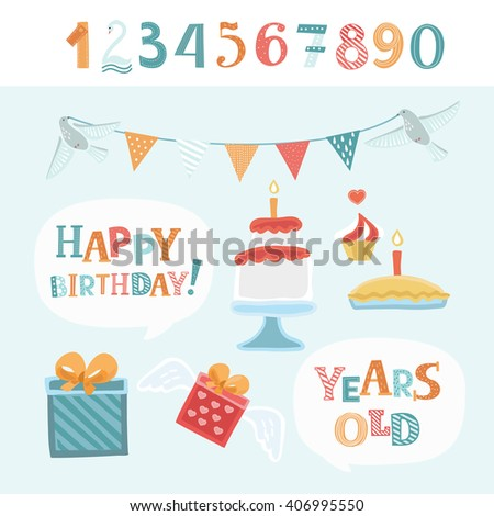 Vector funny elements set for birthday congratulations. Cute numbers and colorful lettering of words Happy Birthday and Years Old in white speech balloon - stock vector