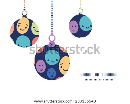 Vector funny faces Christmas ornaments silhouettes pattern frame card template - stock vector