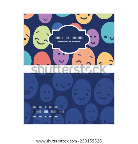 Vector funny faces horizontal frame pattern business cards set - stock vector