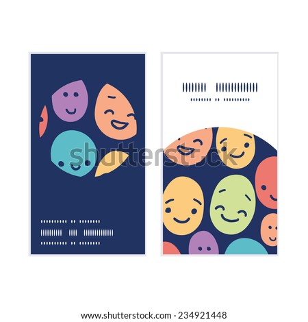 Vector funny faces vertical round frame pattern business cards set - stock vector