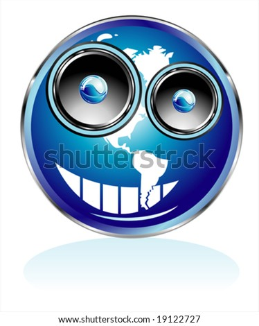 VECTOR Funny Globe/Smile with Speaker eyes - stock vector