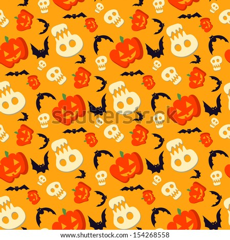 Vector funny halloween pattern with skulls, bats and pumpkins