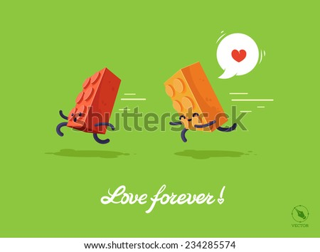Vector funny illustration for lovers. Puzzle - stock vector
