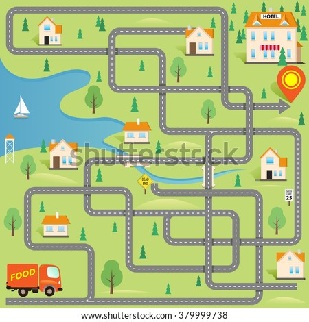 Vector Funny Maze Game: Help for Delivery Driver Find the Hotel in this Small City. Map of Cartoon Town. Cover Design - stock vector