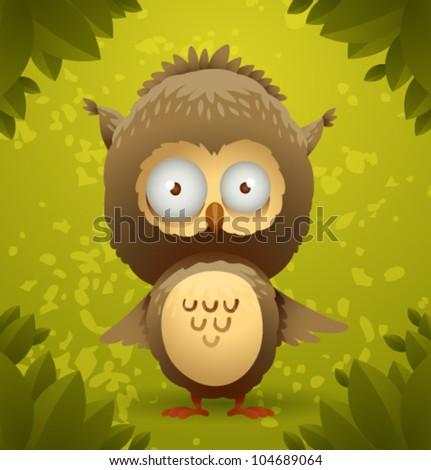 vector funny owl 3 - stock vector