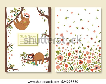 Vector funny sloths set. First female sloth wearing headband and holding gift box. Second hipster baby sloth sleeping on the tree. Cover template with adorable forest animals, flowers, tree