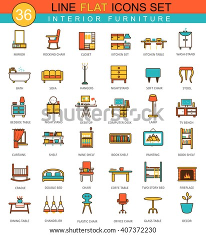 Vector furniture flat line icon set. Modern elegant style design of interior furniture icons for web.  - stock vector