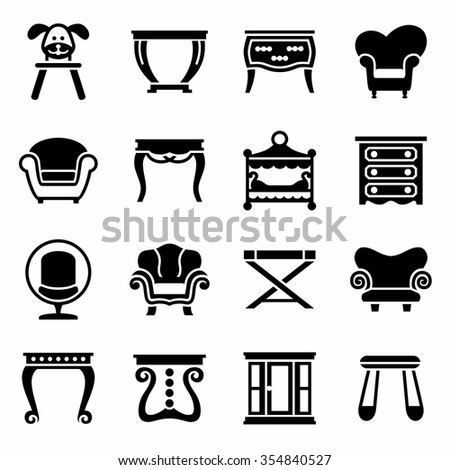 Vector Furniture icon set on white background