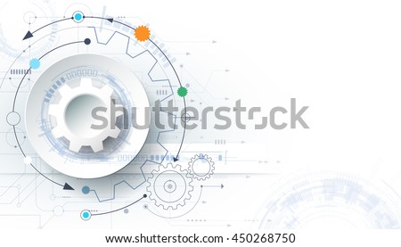 Vector futuristic technology background, 3d white paper gear wheel on circuit board. Hi-tech, engineering, digital telecoms concept. Blank space for content, web template, business tech presentation - stock vector