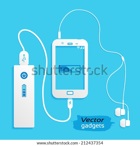 Vector gadgets, flat icon isolated on a blue background. Power concept background design layout for poster flyer cover brochure, vector illustration - stock vector