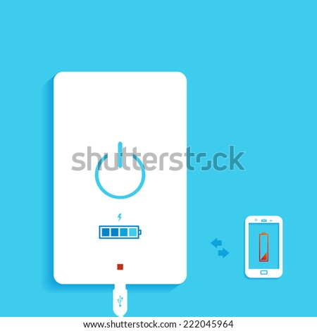 Vector gadgets, isolated on a blue background. Storage concept background design. Portable Power Storage - stock vector