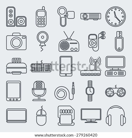 Vector gadgets line icon set - stock vector