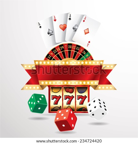 vector gambling casino elements with blank banner - stock vector