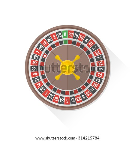 vector gambling casino roulette wheel isolated flat design illustration on white background with shadow
