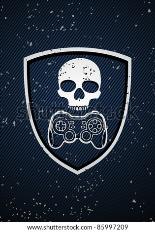 Vector game badge on blue background