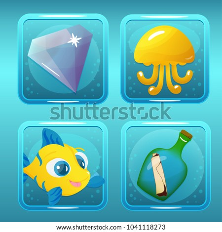 Vector game icons with jellyfish gem fish and bottle for underwater nautical match three