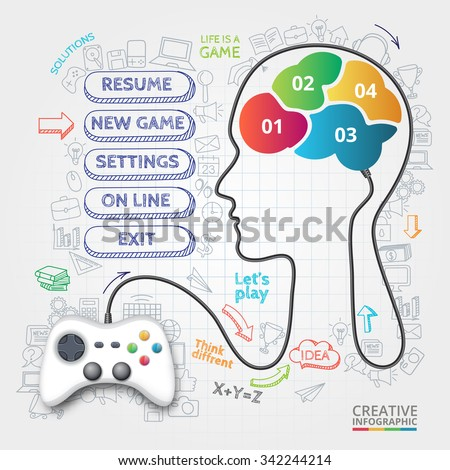 Vector gamepad that controls the brain. Doodles icons set. Infographic template with 4 options, parts, steps or processes. - stock vector