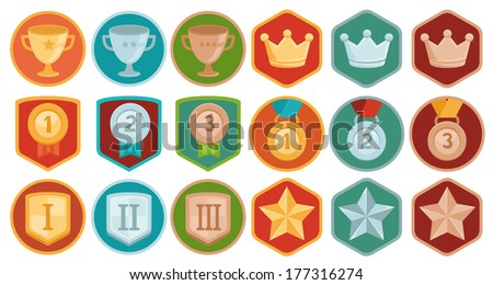 Vector gamification icons and achievement badges in flat trendy style - three winning places in gold, silver and bronze - cup, medal, shield, crown and star - stock vector