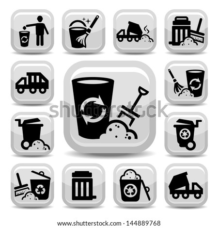 Vector Garbage And Cleaning Icons Set Created For Mobile, Web And Applications.