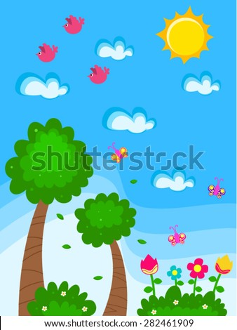 Vector Garden Cartoon Drawing For Kids With Flowers Butterflies Birds  Bushes And Trees