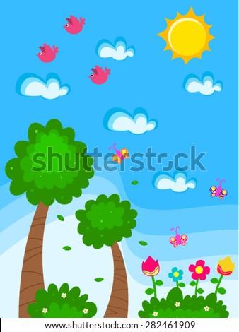 Vector garden cartoon drawing kids flowers stock vector 282461909 vector garden cartoon drawing for kids with flowers butterflies birds bushes and trees thecheapjerseys Choice Image