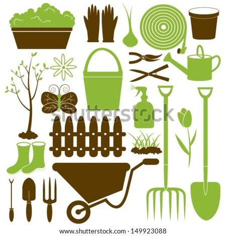 Vector Gardening Icons Collection - stock vector