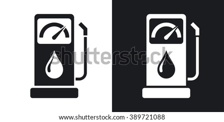 Vector gas station icon. Two-tone version on black and white background - stock vector