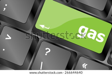vector gas word on keyboard key, notebook computer button - stock vector