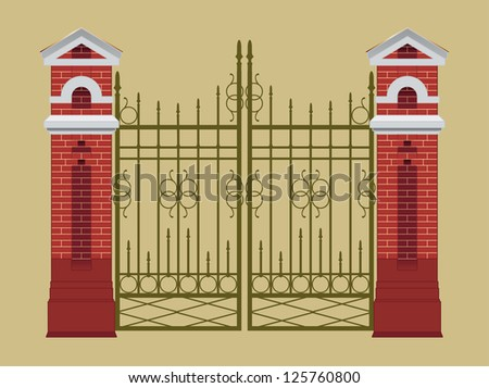 Vector gate, fences with red brick columns, metal lattice, isolated - stock vector