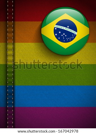 Vector - Gay Flag Button on Jeans Fabric Texture Brazil - stock vector