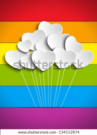 Vector - Gay Flag Hearts Balloons Background - stock vector