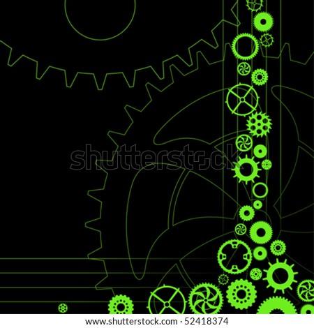 Vector gear and cogwheel set - stock vector