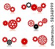 Vector gear and cogwheel set isolated on white - stock vector