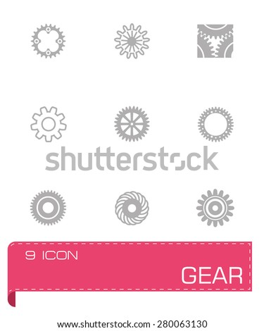 Vector Gear icon set on grey background - stock vector