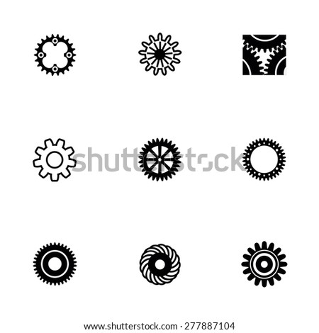 Vector Gear icon set on white background - stock vector