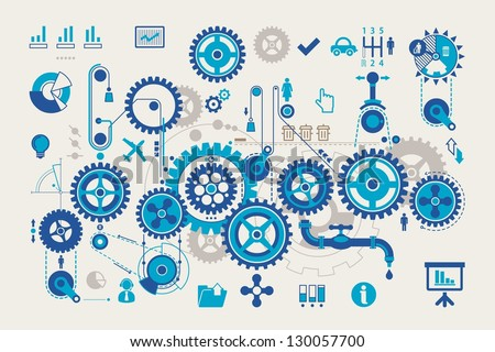 vector gear info graphic elements - stock vector