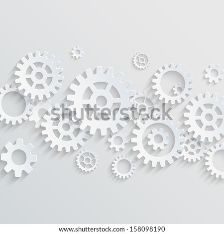 Vector gears and cogs background - stock vector