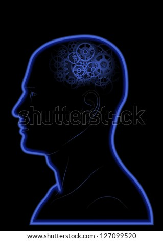 Vector Gears In The Head - Brain - Intelligence - Thinking - stock vector
