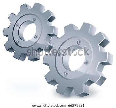 Vector gears, isolated object on white background, technical, mechanical illustration - stock vector