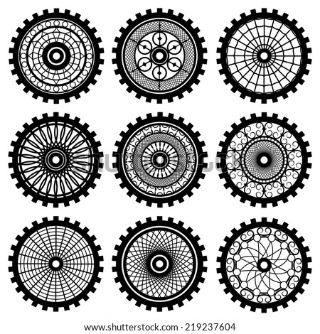 Vector gears set in the style of steampunk - stock vector
