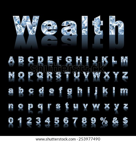 vector gemstone alphabet with reflection - stock vector