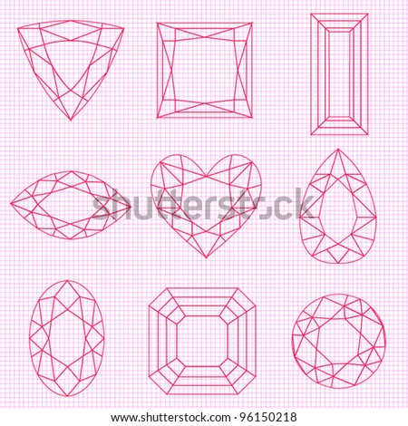 Vector Gemstone Outlines - stock vector