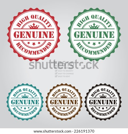 Vector : Genuine High Quality Recommended Icon, Sticker, Badge or Label  - stock vector