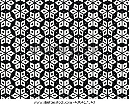 Vector geometric abstract moorish pattern in black and white
