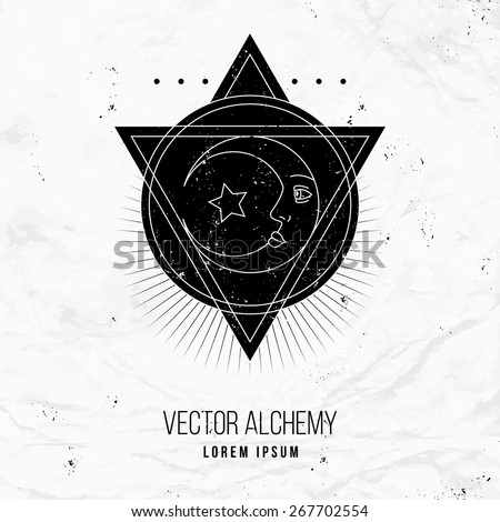 Vector geometric alchemy symbol with eye, moon, shapes. Abstract occult and mystic signs. Linear logo and spiritual design. Concept of imagination, magic, creativity, religion, astrology - stock vector
