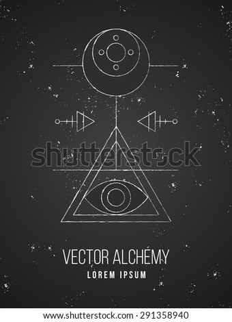 Vector geometric alchemy symbol with eye, moon, shapes and abstract occult and mystic signs. Linear logo and spiritual design. Concept of imagination, magic, creativity, religion, astrology - stock vector