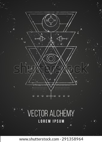Vector geometric alchemy symbol with eye, moon, shapes and abstract occult and mystic signs. Linear logo and spiritual design. Concept of imagination, magic, creativity, religion, astrology, masonry - stock vector