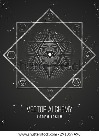 Vector geometric alchemy symbol with eye, sun, shapes and abstract occult and mystic signs. Linear logo and spiritual design Concept of masonry, magic, creativity, religion, astrology, horoscope - stock vector
