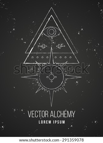 Vector geometric alchemy symbol with eye, sun, star, shapes and abstract occult and mystic signs. Linear logo and spiritual design. Concept of imagination, magic, creativity, religion, astrology - stock vector
