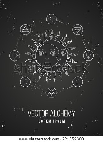 Vector geometric alchemy symbol with sun, moon, shapes and abstract occult and mystic signs. Linear logo and spiritual design on chalkboard. Concept of magic, creativity, astrology, man, woman, family - stock vector